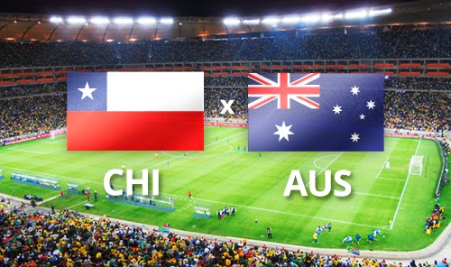 Chile vs Australia Flags Stadium.