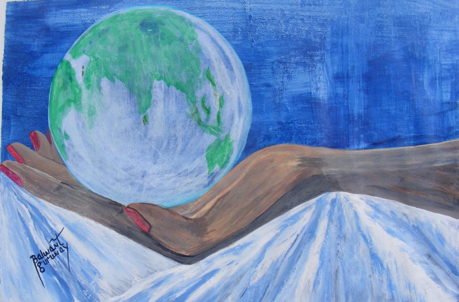 Save Earth.......Painting by Balwant Gurunay