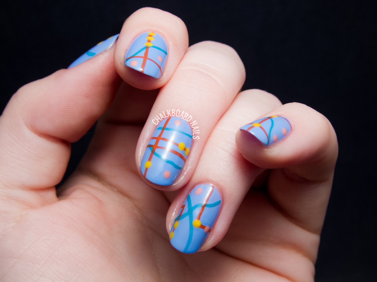 Abstract Roadmap Nail Art For The Adventurer In You Chalkboard