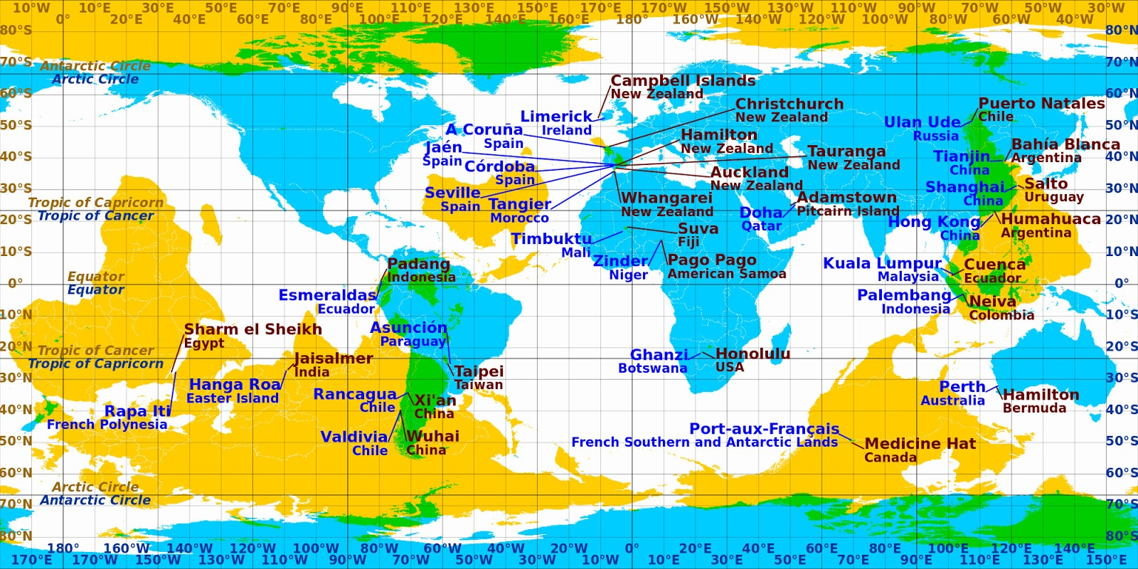 World map of antipodal cities