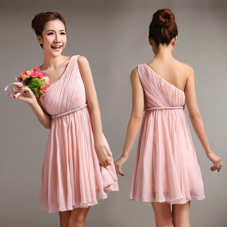 Lovely pleated one shoulder empire waist chiffon bridesmaid dress