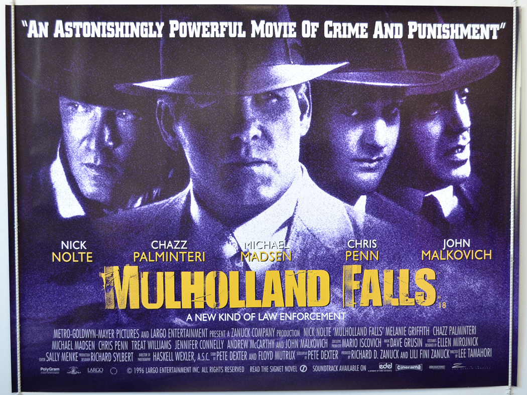 Film poster Mulholland Falls 1996 animatedfilmreviews.blogspot.com