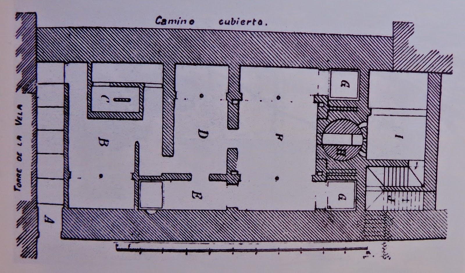 Baño Bajo Escalera Plano:Plano del Baño de la Alcazaba: A ingreso y escalera de bajada-B