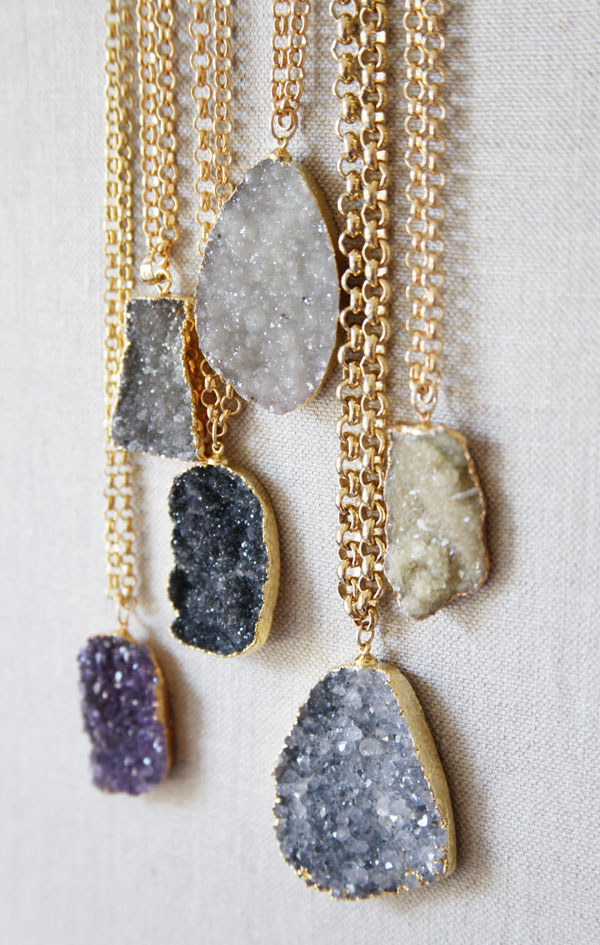 Margaret elizabeth blog new for fall long druzy pendants for How to make rock jewelry