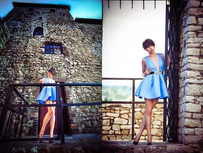 Sheinside Blue V Neck Backless Midriff Flare Dress