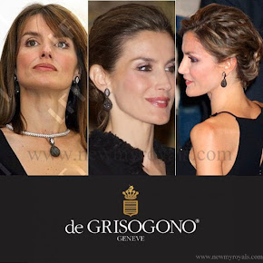 Queen Letizia Style Grisogono Black Diamond Earrings