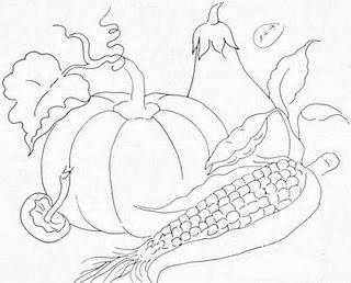 desenho de milho com abobora e beringela para pintar