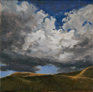 Cloudscape, atmospheric. scotland, original oil painting, small square painting