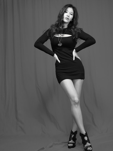 Hwang Ga Hi in Black Mini Dress