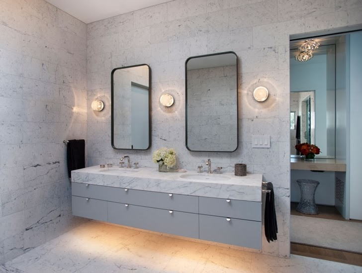 Marble walls in the Luxury modern family home in Venice, California