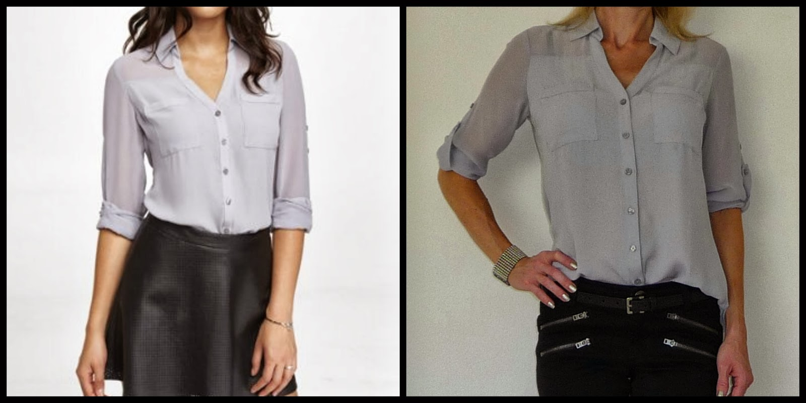 Express Portofino shirt, blouse, top, liquid gray, grey, lavender