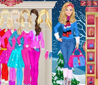 Juego de vestir a Barbie para el invierno
