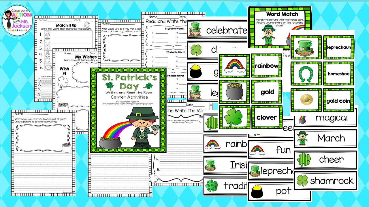 https://www.teacherspayteachers.com/Product/St-Patricks-Day-Read-the-Room-and-Writing-Center-1750975