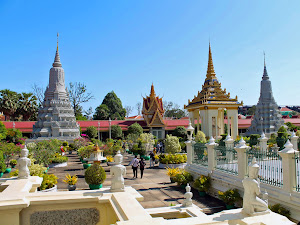 Stupas of the Silver Pagoda in Phnom Penh (Cambodia)