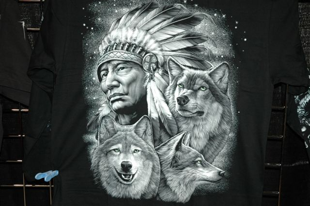 indian chief and wolf - photo #7