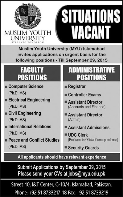 Teaching & Admin Jobs in Muslim Youth University Islamabad