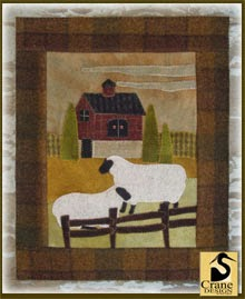 "Wool Daze Wool Applique Wallhanging 17"" by 20.5"""