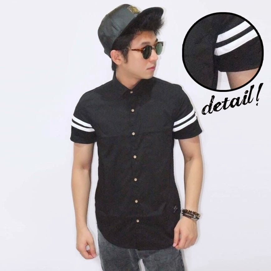 Kemeja Short Arm Double Stripe Black