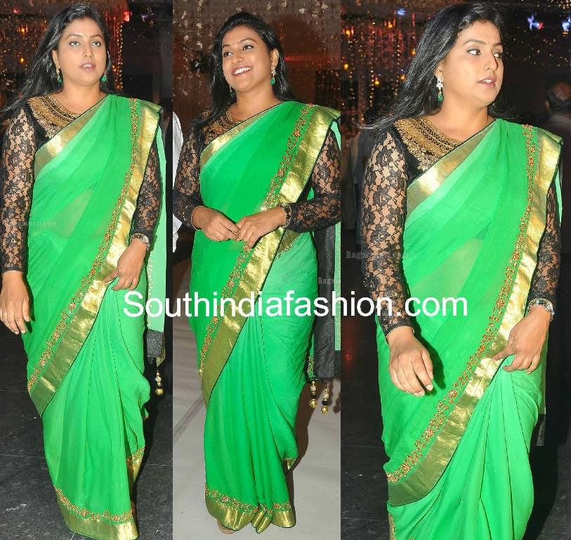 roja in green designer saree