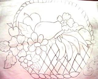 desenho cesta com frutas
