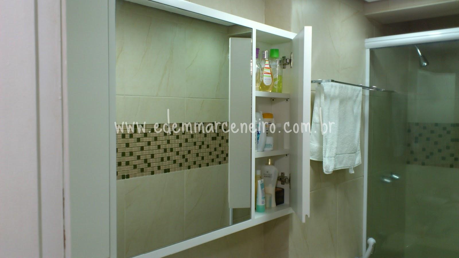 Armário Laqueado para banheiro com espelho  Edem Marceneiro -> Armario De Banheiro Feito Por Marceneiro