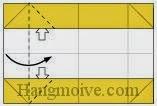 Bước 5: Từ vị trí mũi tên mở hai lớp giấy ra, kéo và gấp cạnh giấy về phía bên phải.