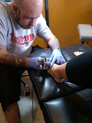 Foot Tattoo in progress