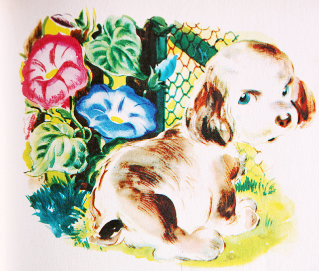 vintage dog illustration with flowers