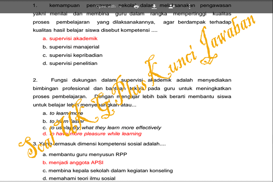 Download Soal Uji Kompetensi Pengawas Sekolah Lengkap Dengan Kunci Jawaban Pdf Garsela