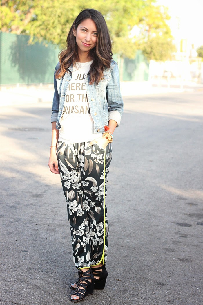 style printed pants with a graphic tee