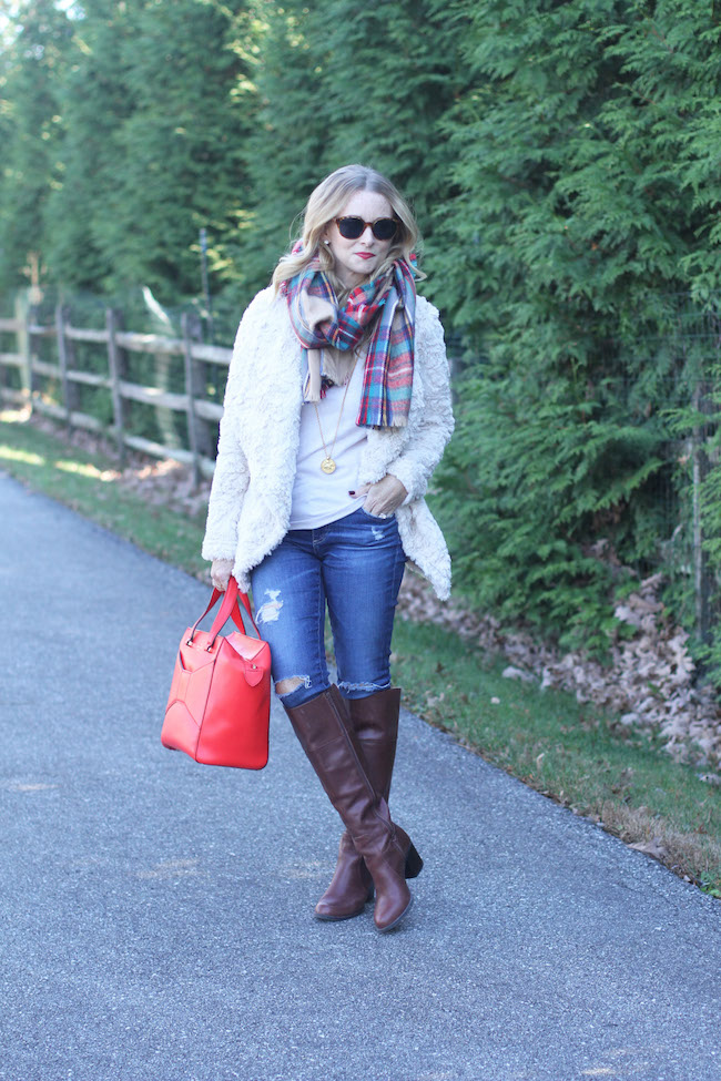 dylan faux fur, shein scarf, red tote bag, julie vos necklace