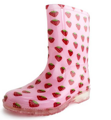 Generation19 Girls Rain Boots Red Strawberry (Toddler/Little Kid)