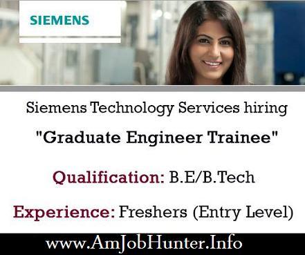 Siemens Technology Services hiring  Graduate Engineer Trainee