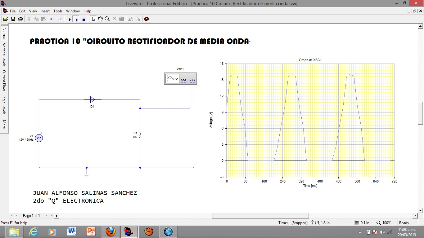 Circuito Rectificador De Media Onda : Electromaton practica quot circuito rectificador de
