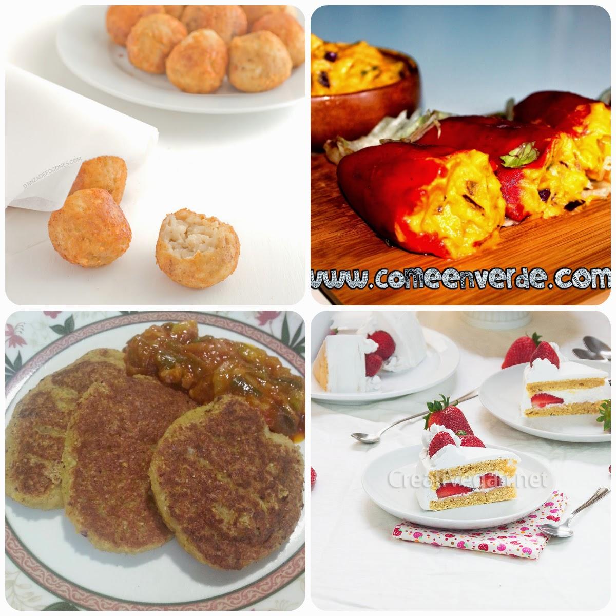 Platos del décimo menú vegetariano con recetas de otros blogs.