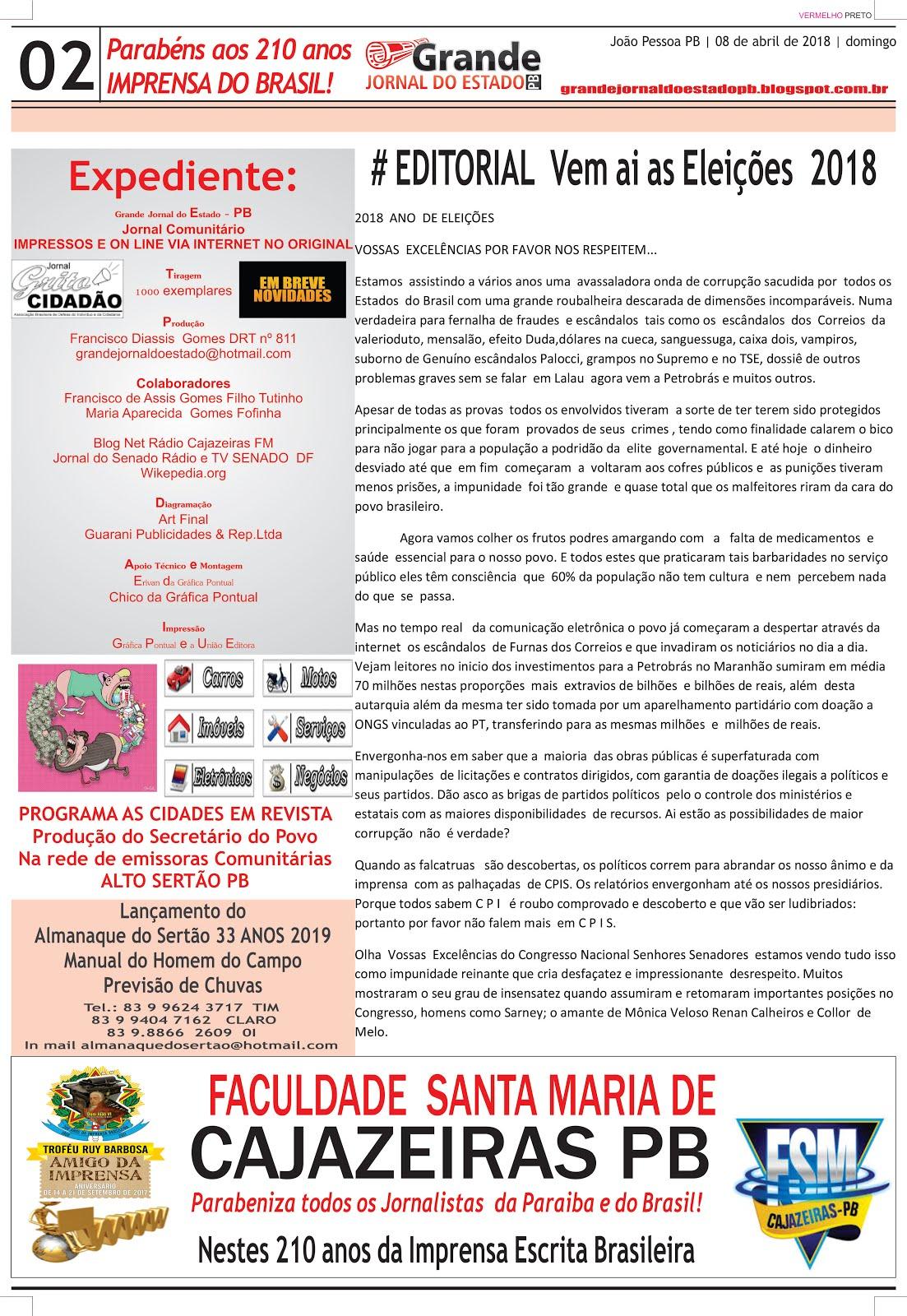 GRANDE JORNAL DO ESTADO ESPECIAL  DA COMEMORAÇÃO DA IMPRENSA ESCRITA  DO BRASIL