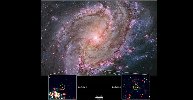 """Hubble view of M83 -- the only galaxy known to host two potential """"Eta twins."""" Its high rate of star formation increases the chances of finding massive stars that have recently undergone an Eta Carinae-like outburst. Bottom: Hubble data showing the locations of M83's Eta twins. Credit: NASA, ESA, the Hubble Heritage Team (STScI/AURA) and R. Khan (GSFC and ORAU)"""