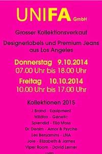 Gr. Kollektionsverkauf bei UNIFA München an 2 Tagen, ab 09.10.2014