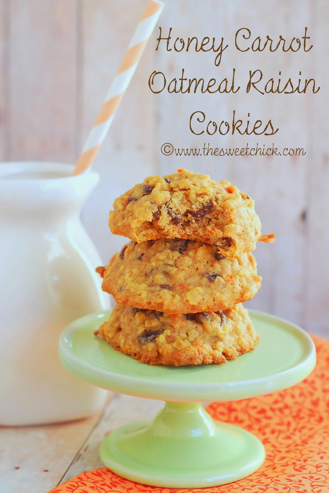Honey Carrot Oatmeal Raisin Cookies by The Sweet Chick