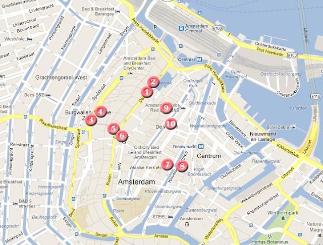 Mapa de la ruta del día 2 por Amsterdam