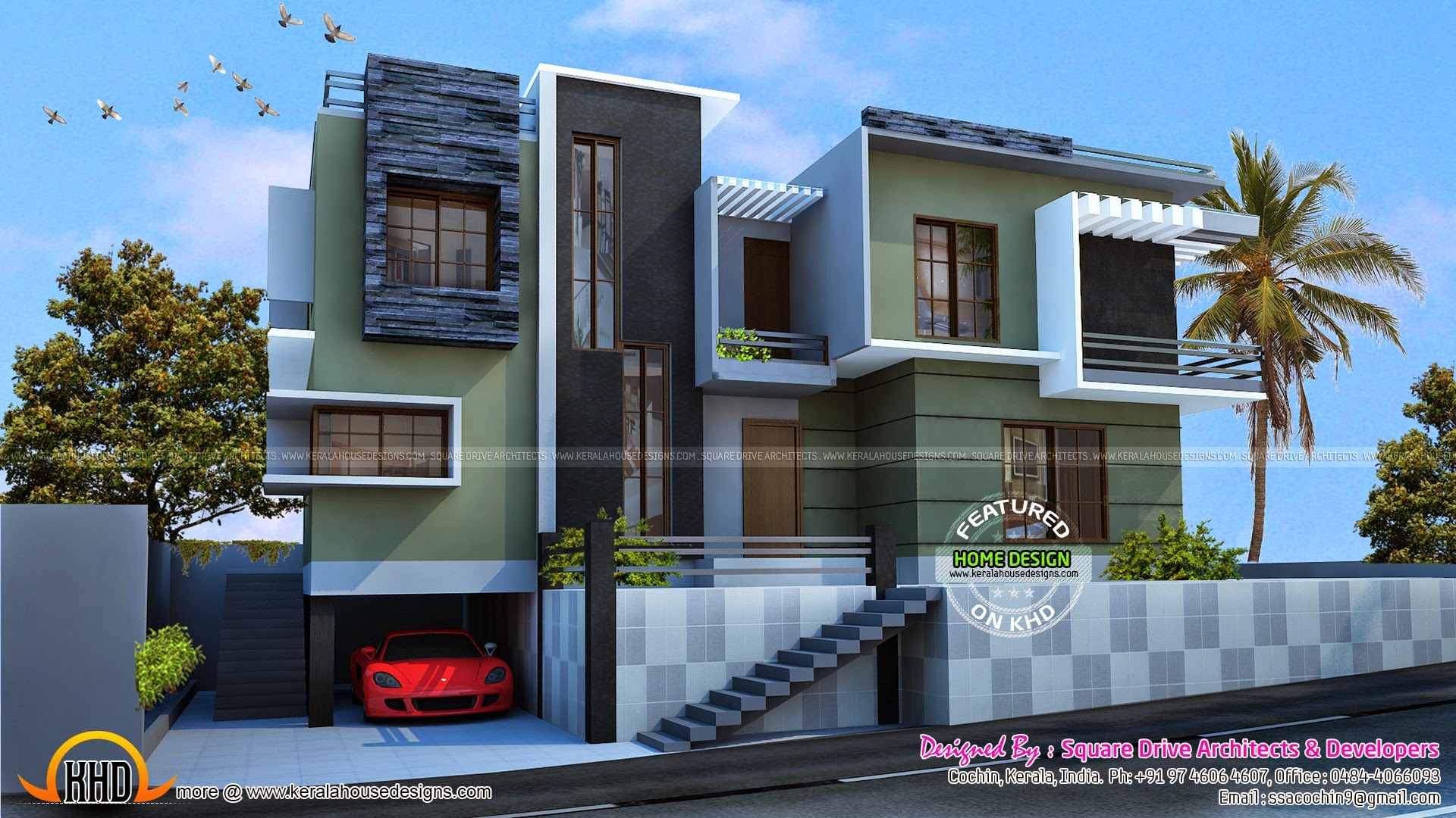 Modern duplex house kerala home design and floor plans for Modern house plans 2400 sq ft