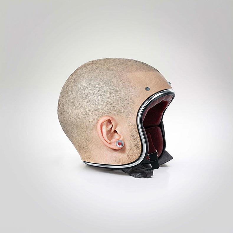 Artista crea cascos hiperrealista que parecen cabezas