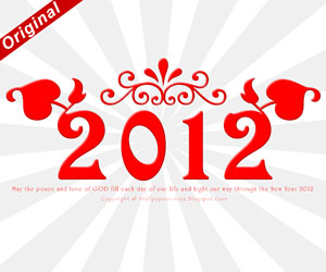 Free Download Happy New Year 2012 Red Decoration Wallpaper