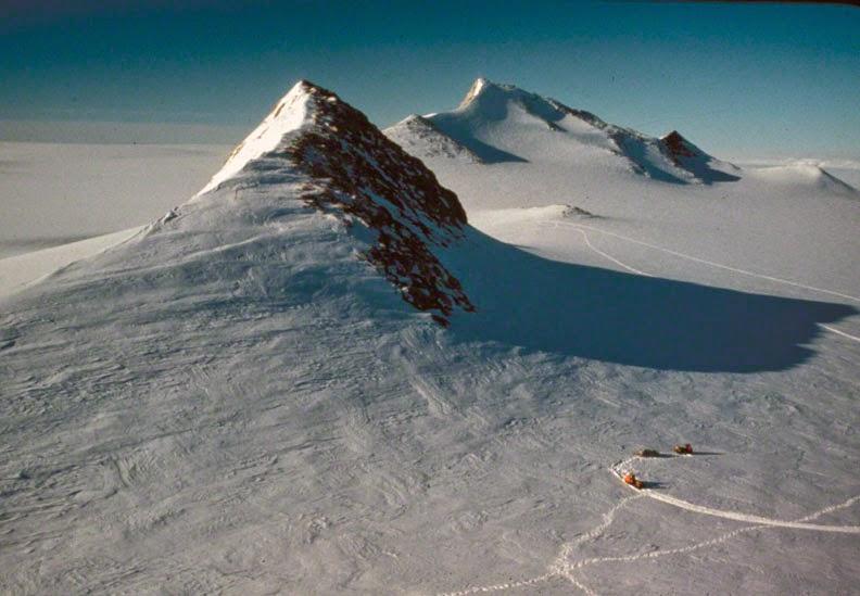 Photo of Birchall Peaks taken from Maigetter Peak, Ford Ranges, Marie Byrd Land. Photo © Bruce Luyendyk