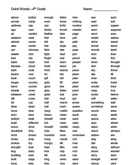 Gallery For u0026gt; High Frequency Words 4th Grade List