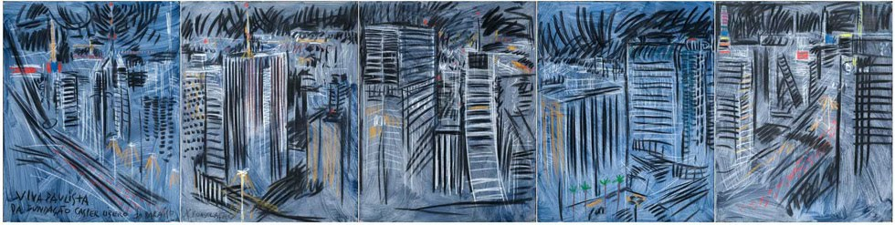 Viva Paulista. 1999. Acrilica e carvao s/ tela. 100 cm X 400 cm.