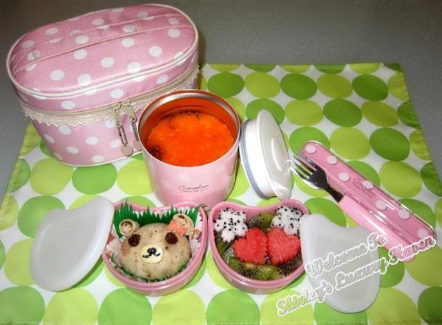 casa bento lunch box, teddy bear, sandwich, chawanmushi