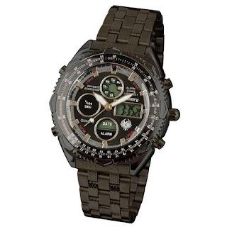 INFANTRY Mens LCD Chronograph Digital Alarm Quartz Army Watch Stainless Steel