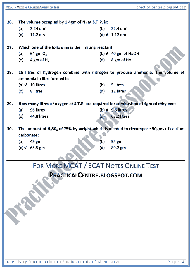 mcat-chemistry-introduction-to-fundamentals-of-chemistry-mcqs-for-medical-college-admission-test