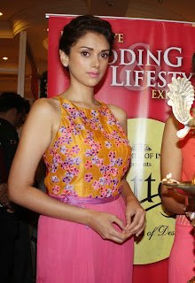 Aditi Rao Hydari in Beautiful Tank Top Paijama At Times Glitter in J W Marriott el,Mumbai